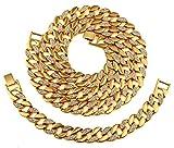 AlwaysBling Hip Hop Cristaux Fashion plaqué or entiers Collier épais 128g et 35g Bracelet Set