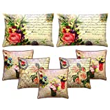 Royalina Polyester Digital Printed Cushion Covers With Fillers Combo-Set Of 7