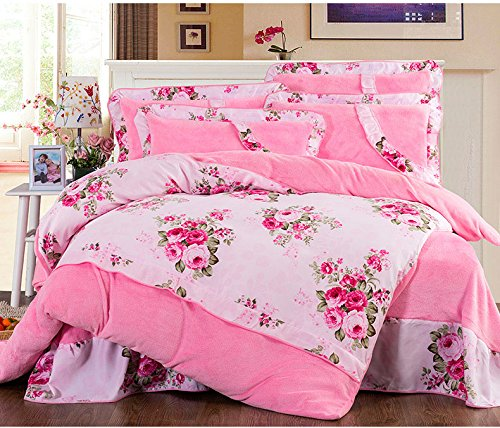 Yoyomall Korean Cotton Upgraded Thick Velvet Coral Velvet Bedding Sets, Christmas Soft Warm 4Pcs Bedroom Set,Floral Bule Orange Pink Purple Red Bedding (Queen, 18)