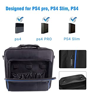 PS4 Travel Case, Multifuncional Waterproof PS4 Carrying Case Portable PS4 Bag for Sony PS4, PS4 Slim Systems and Accessories (Color: PS4)