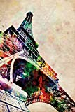 The Eiffel Tower - Paris, France - Pop-Art Poster / Print (Watercolor Painting By Michael Tompsett) (Size: 24