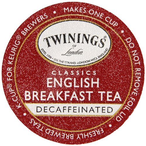 Twinings Of London K-Cup Portion Pack For Keurig K-Cup Brewers Decaffeinated Breakfast Tea, English, 12 Count (Pack Of 6)