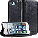 iPod 5 Case, GMYLE(R) Wallet Case Simple for iPod touch 5th Generation - Black PU Leather Stand Cover