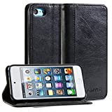 GMYLE(R) Wallet Case Simple for iPod touch 5 - Black Crazy Horse Pattern PU Leather Slim Protective Folio Wallet Stand Case Cover