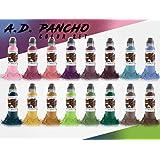 A.D. Pancho 16 Bottle Pro-Team Color Ink Set - World Famous Tattoo Ink - 1oz.