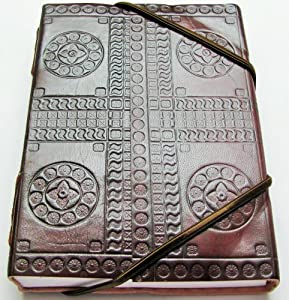 """Handmade Expressions Educational Products - Leather Journal - Blank - """"Hand Embossed"""" 5"""" x 7"""" Cruelty Free Leather - Dimension: 5"""" x 7"""""""