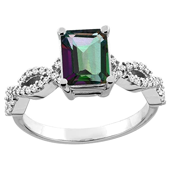 Revoni 14ct White/Yellow Gold Natural Mystic Topaz Eternity Ring Octagon 9x7mm Diamond Accent