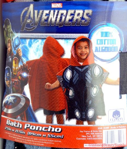 The Avengers THOR Bath Pool Poncho Towel for kids 100% cotton 25″x21.5″