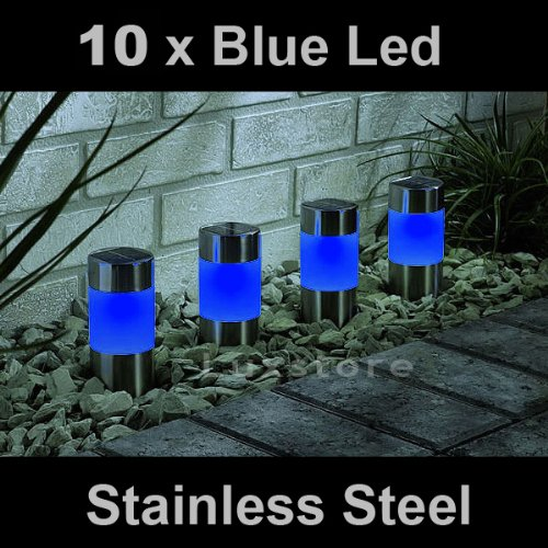 10 x Blue Solar Led Light Garden Path Marker Mini Bollard Patio Deck Decking- Stainless Steel - Mini Bollard