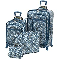 Waverly Boutique 4 Piece Luggage Set (Lace It Up Aqua)