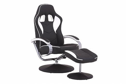 Cavadore TV-Sessel Racer 01 / Verstellbarer Sessel mit Hocker im Rennfahrer-Design / Lederimitat Schwarz-Weiß / Ergonomische Ruckenlehne / drehbar / 82 x 69 x 108 cm (T x B x H)
