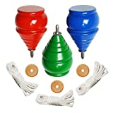 Authentic THROWBAK SPIN TOPS ™ [Classic Wooden Trompos] – 100% Made in the USA [Set of 3]