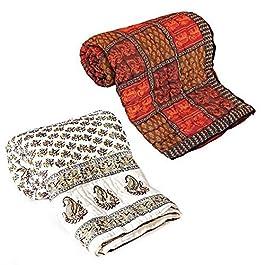 Funda con diseño de Little India 2 piezas Juego de funda de edredón para cama de matrimonio algodón multicolor Razai