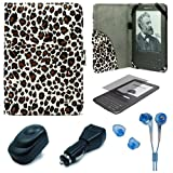 Leopard Pattern Design Protective Portfolio Nylon Carrying Case Cover for Amazon Kindle 3rd Generation Wireless Reading Device 3G Wi-Fi 6 inch LCD Display + Clear Screen Protector Guard for Kindle 3 Wifi + USB Travel Home Charger + USB Car Charger + Blue Hifi Noise Reducing Headphones / Earbuds
