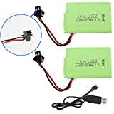 Fistone Spare Rechargeable 3.7V 600mAh Li-on Battery Pack 2 Pcs for RC Robot Dinosaur Intelligent Interactive Smart Toy 2.4G Electronic Remote Robot with Charging Cable SM 2P Plug
