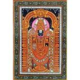 "Dolls Of India ""Lord Venkateshwara"" Orissa Paata Painting On Canvas - Unframed (48.26 X 33.02 Centimeters)"