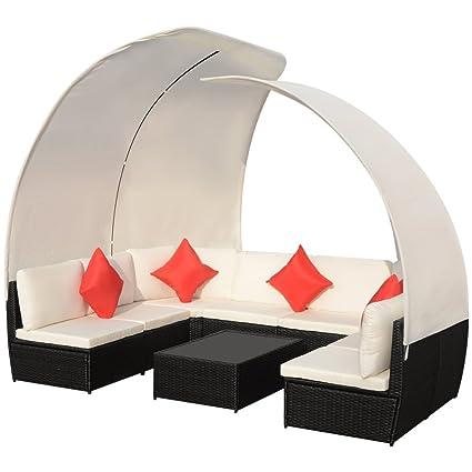 vidaXL 32-tlg. Poly Rattan Sitzgruppe Sitzgarnitur Lounge Set Sofa Gartenmöbel mit Dach
