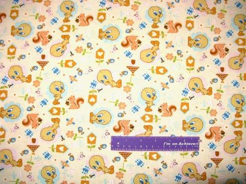 "43"" Wide Tweety Bird Nature Cream Cotton Fabric By The Half Yard front-821290"