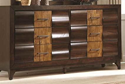 6-Drawer Dresser with Two Tone Wood Finish