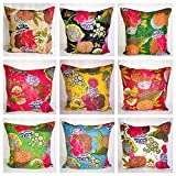 HANDICARFTOFPINKCITY Printed Kantha Work Cushion Cover 16'' Size Pillow Case