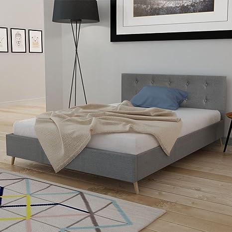 Anself Doppelbett Bett Ehebett Gästebett aus Holz 140x200cm mit Matratze Hellgrau