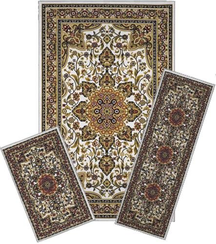 Traditional Oriental Floral Area Rug Set - 3 PC SET ! 5 feet x 8 feet , tan , beige , white, carpet, stain resistant, foyer, dining room, living room