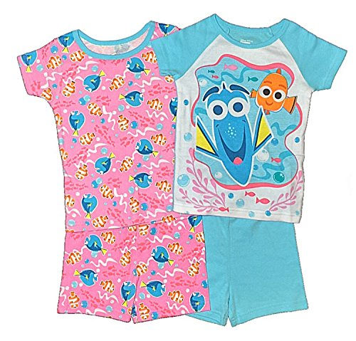 Disney Finding Dory Little Girls Toddler 4 Pc Cotton Pajama Set