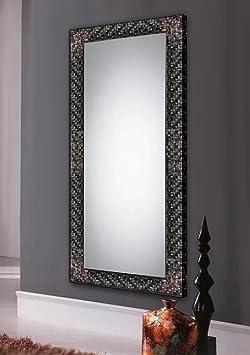 Wall classic wood dressing mirrors: model ESTEPA. Colour: Black/Silver.