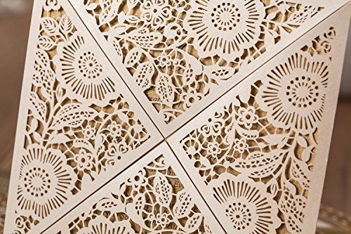 Wishmade 100x White Square Laser Cut Wedding Invitations Cards with Lace Flowers Engagement Birthday Bridal Shower Baby Shower Graduation Party Favors CW520WH 4