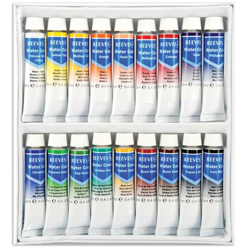 Reeves Assorted 10-Milliliter Watercolor Paint, 18-Pack