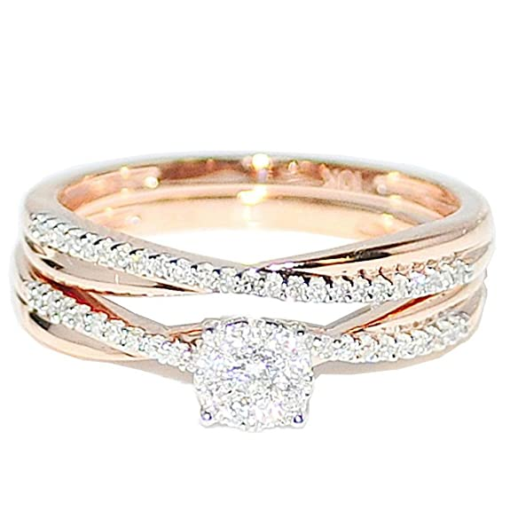 Midwest Jewellery Women's 1/4Cttw Diamond Bridal Set 10K Rose Gold Engagement Ring And Band Set( 0.25Cttw)
