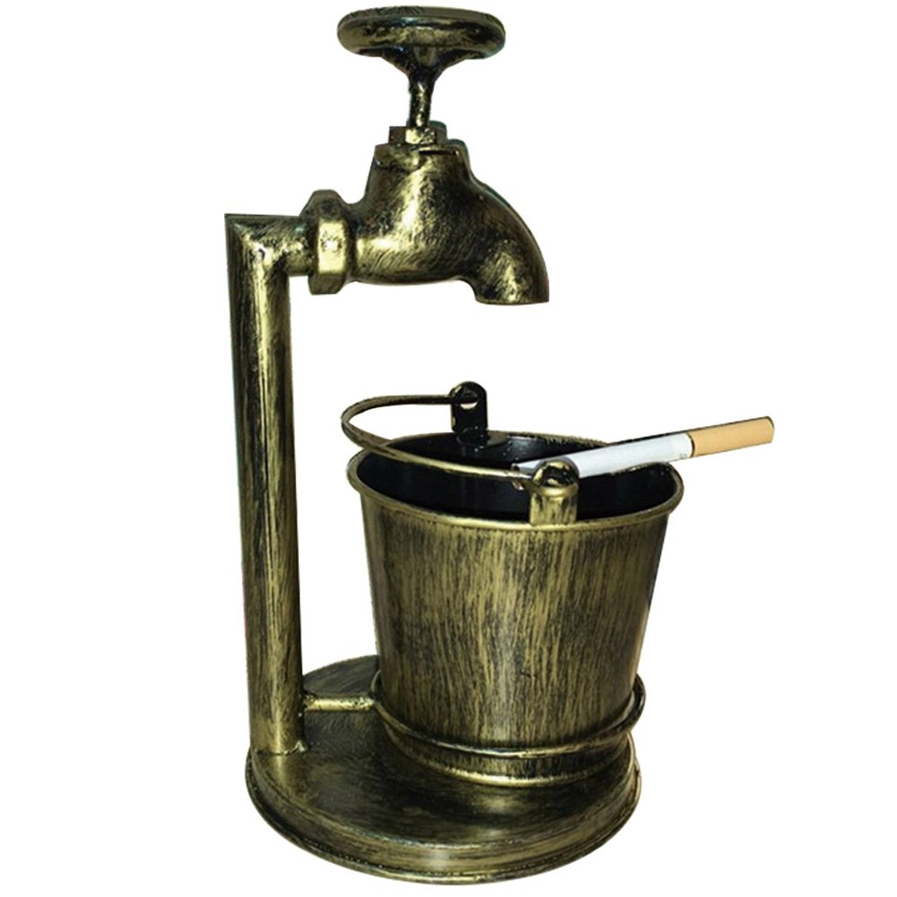 Retro Decoration Accents Cigarettes Cigars Bionic Design Faucet Bucket Ashtray Suit For Home Bar Office Or Use For Brush Pot Storage Containers ,Metal,Cinnamon 0