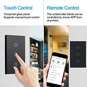 HHGAOKO WiFi Smart Curtain Switch,Wall Touch Panel Switch,Motorized Roller Blinds Shutter Switch,Compatible with Alexa and Google Assistant,Jinvoo APP(Black) (Color: Black)