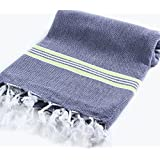 "Cacala 100% Cotton Pestemal Turkish Striped Bath Towel, 37 x 70"", Dark Blue/Green"