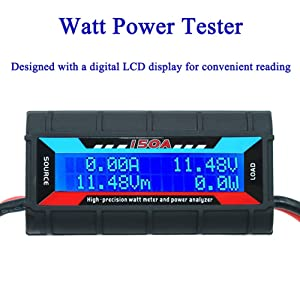 150A Watt Meter Power Analyzer High Precision RC with Digital LCD Screen for voltage (V) current (A) Power (W) Charge(Ah) and Energy (Wh) Measurement (Color: QW, Tamaño: 150A)