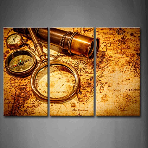 3 Panel Wall Art Brown Vintage Magnifying Glass Compass Telescope And A Pocket Watch Lying On An Old Map Painting The Picture Print On Canvas Abstract Pictures For Home Decor Decoration Gift Piece (Stretched By Wooden Frame,Ready To Hang)