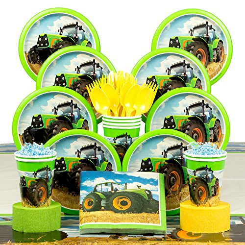 Tractor Time Birthday Deluxe Tableware Kit (Serves 8)