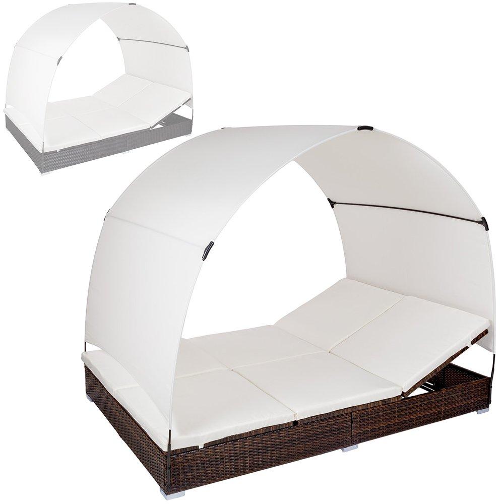 TecTake Alu Sonnenliege Poly Rattan Gartenliege Loungeliege Gartenlounge Doppelliege mit Dach 2 Personen – diverse Farben – (Schwarz-Braun | Nr. 401557) günstig
