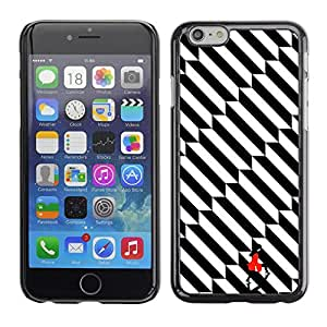 Omega Covers - Snap on Hard Back Case Cover Shell FOR Iphone 6/6S (4.7 INCH) - Black Stripes Pattern Stairs Girl
