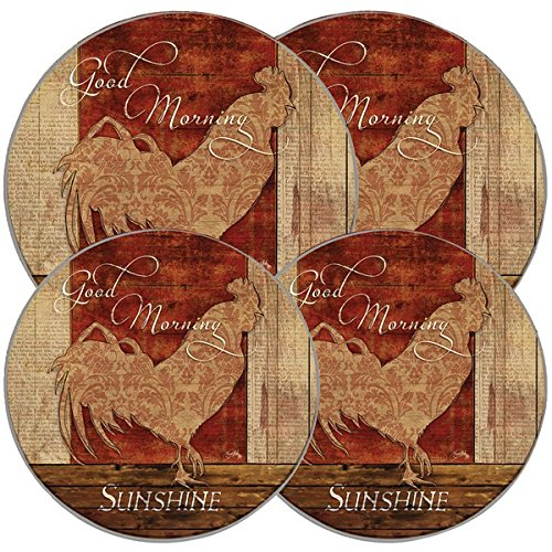 RANGE KLEEN 5084 Good Morning Sunshine Round Burner Kovers (4 Pack), White (Rooster Stove Burner Covers compare prices)