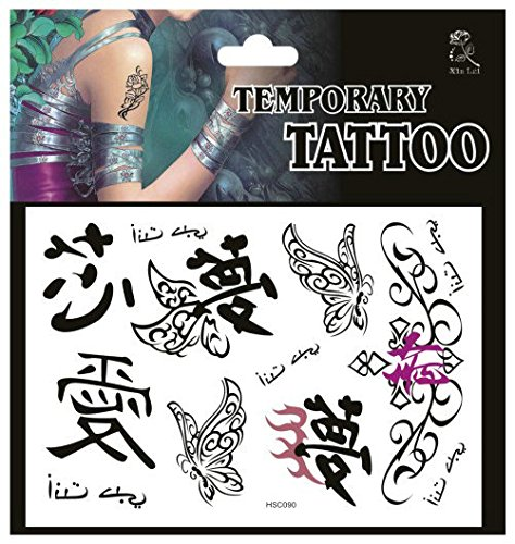 SYZ Beauty Waterproof Temporary Tattoos Chinese Words Butterfly Love Dream Heart Tattoos