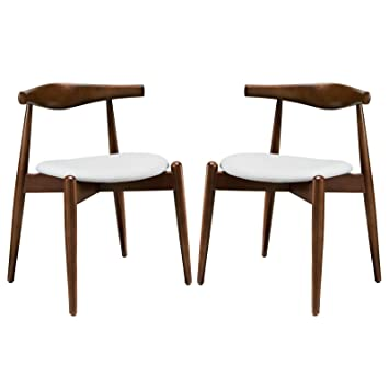 Stalwart Dining Side Chairs Set of 2 - Dark Walnut White