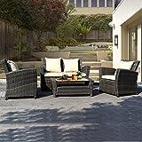 Goplus® 4 PCS Brown Wicker Cushioned Rattan Patio Set Garden Lawn Sofa Furniture Seat
