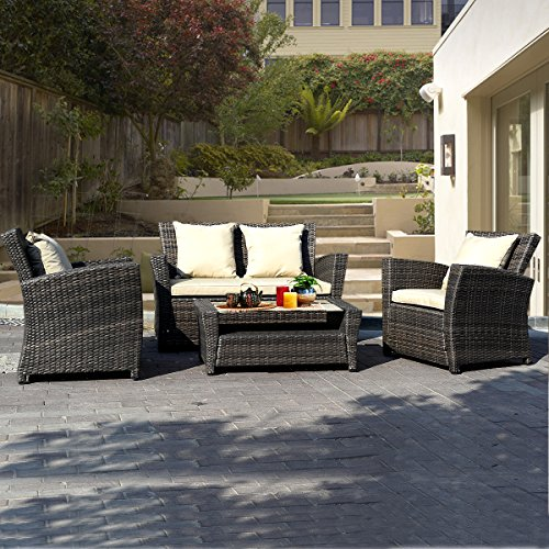 Goplus® 4 PCS Brown Wicker Cushioned Rattan Patio Set Garden Lawn Sofa Furniture Seat