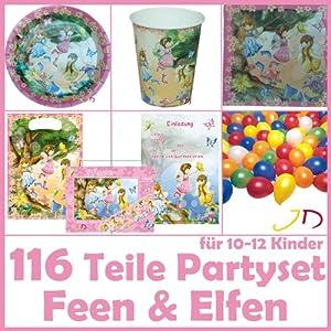 116 teiliges feen elfen party set f r kindergeburtstag. Black Bedroom Furniture Sets. Home Design Ideas