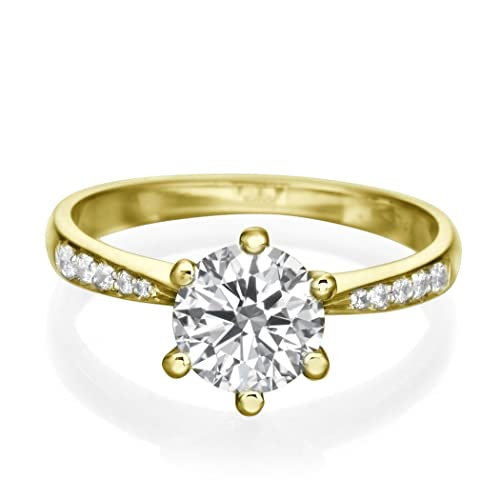 0.85 CT Yellow Gold Engagement Ring Round Cut Natural Diamond with Sidestones E-F/I1-I2 18ct