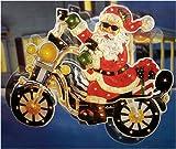 "42"" Santa On Motorcycle Lighted & Animated Christmas Yard Art Decoration"