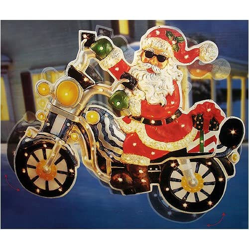 "Amazon.com - 42"" Santa On Motorcycle Lighted & Animated"