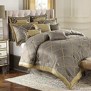 bombay garrison pewter gold gray grey queen comforter set. Black Bedroom Furniture Sets. Home Design Ideas