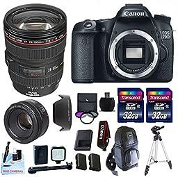 Canon 70D + Canon EF 24-105 f/4 L IS USM (Glass Element) + 50mm 1.8 STM + 2 32GB Transcend SD Cards + LED Video Light + Spare LP E6 Battery + Sling Bag & More - International Version